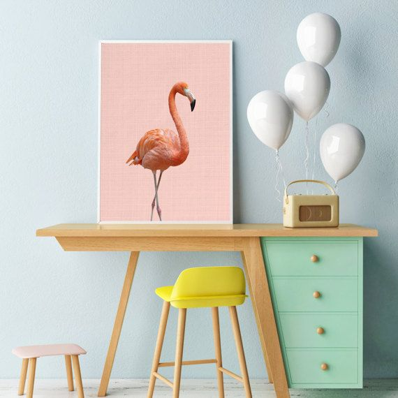 Flamingo Print, Nursery Animal Wall Art, Nursery Animal Decor, Baby room animals, Flamingo art poster, PRINTABLE wall art, Nursery decor art