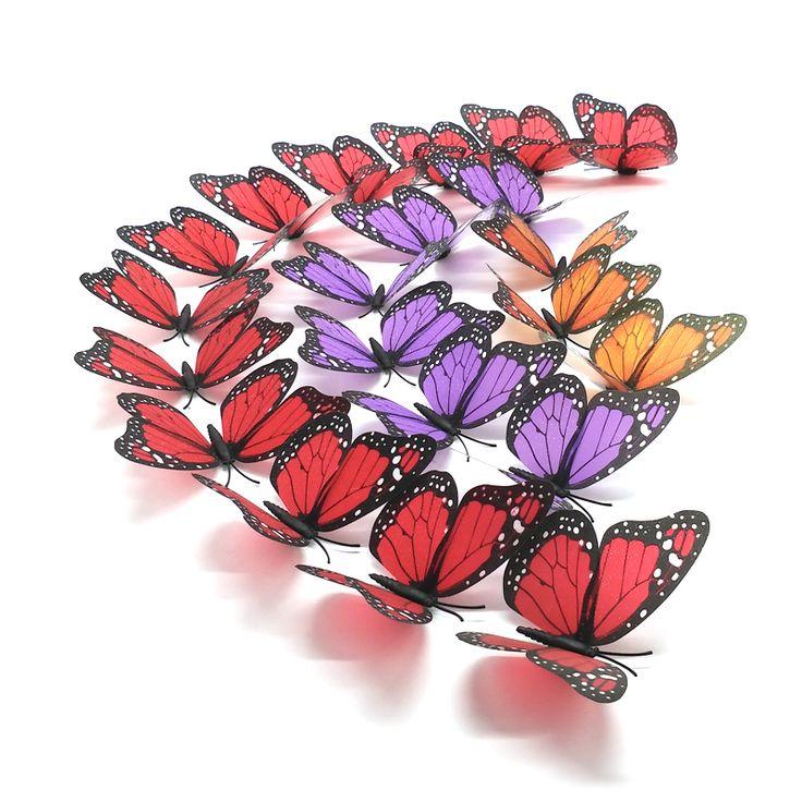 Sparkle Indah 3D Butterfly Wall Stiker DIY Home Decor Dengan Magnet & Titik Lem, Untuk Ruang Tamu, Kamar Tidur, Dekorasi pesta