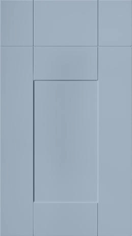 Blue painted shaker style kitchen doors.