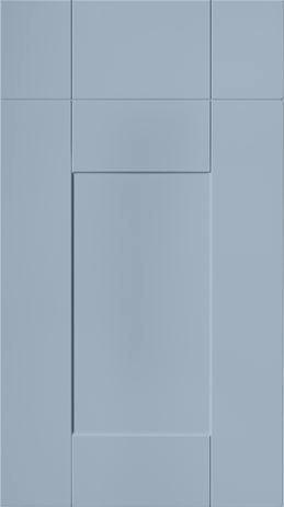 Blue painted shaker style kitchen doors.