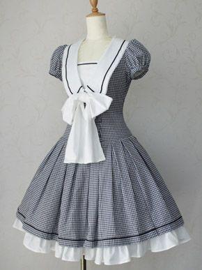 (found on Heck Yeah! Lolita Fashion tumblr) Victorian Maiden Gingham Marine Ribbon Dress