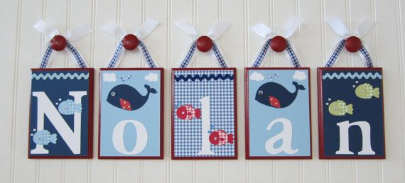 Personalized Boutique Baby Child Boys Name Nursery Wood Block Hanging Letters - Jackson Nursery Bedding Pottery Barn Kids (PBK) Bedding. $18.00, via Etsy.