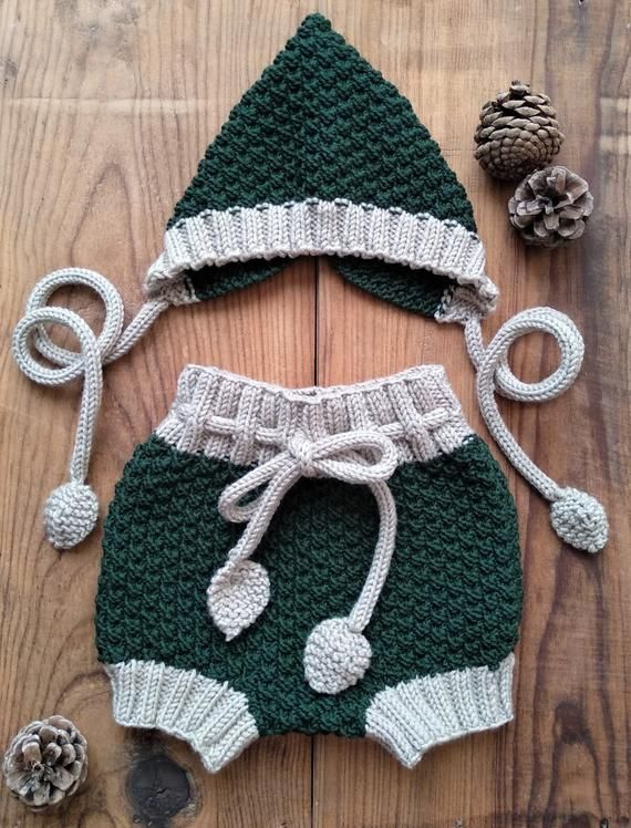 9e2caf8f73d1 KNITTING PATTERN - Mossy Baby Bloomers and Pixie Bonnet PDF Knitting ...