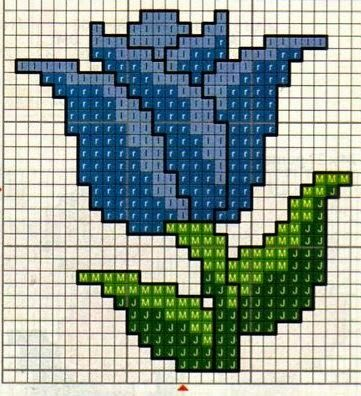 Cross Stitch Blue Tulip