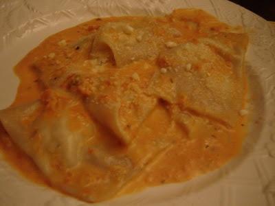 Seven Fish:: Tomato Cream Sauce for Crab Ravioli