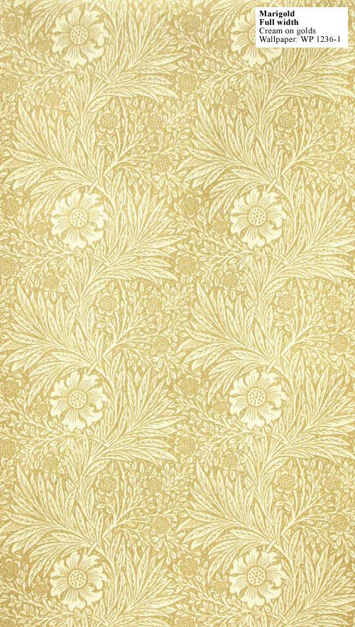Wallpaper, Marigold, William Morris, 1875 Designed by Morris in 1875 Marigold is a lively monotone print and one of the few designs Morris produced for both wallpaper and fabric