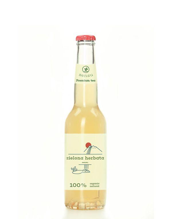 Bottled organic green tea on Behance