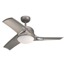 Monte Carlo Fan Company 38-in Titanium Downrod Mount Indoor Ceiling Fan with Light Kit and Remote (3-Blade)