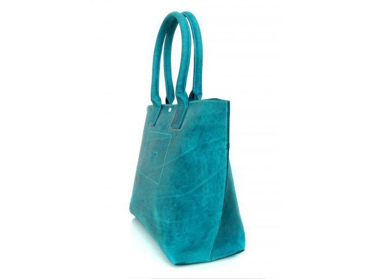 Tote Bag big z kůže pull-up, odstín turchese