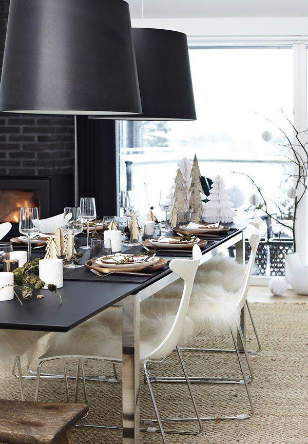 Elegant and sleek Christmas table setting and decorations