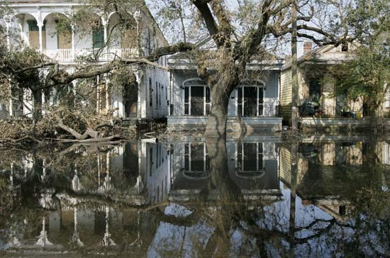 The flooded streets of the Garden District in New Orleans LA