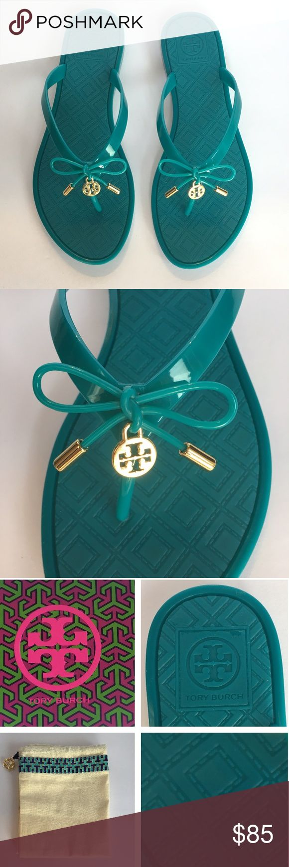NIB Tory Burch Jelly Bow Thong Ocean Turo Sz. 7&9 NIB Tory Burch Jelly Bow Flip Flop. Color: Ocean Turo. Sizes: 7&9. Polish up your poolside look with these chic, bow-topped jelly flip flops from Tory Burch.Thermoplastic polyurethane upper, thermoplastic polyurethane sole. Imported. Comes with original box and dust bag. Super cute and comfy! Prime is firm. Enjoy! ❤ Tory Burch Shoes Sandals