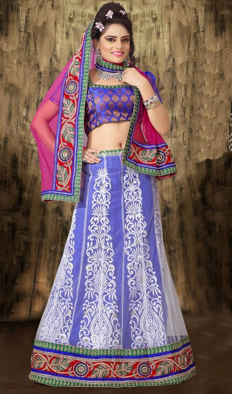 Violet and Off White Embroidered Net Lehenga Choli Price: Usa Dollar $135, British UK Pound £80, Euro100, Canada CA$147 , Indian Rs7290.