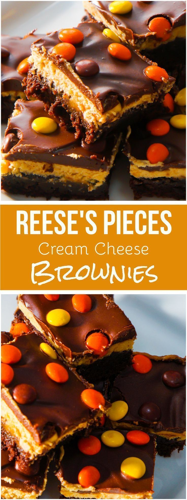 Reese's Pieces Cream Cheese Brownies. Delicious chocolate and peanut butter dessert.