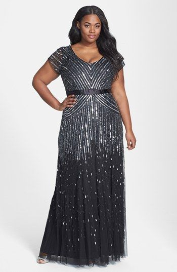 I need the sleeves at elbo length ~ Adrianna Papell Embellished Mesh Gown (Plus Size) | Nordstrom