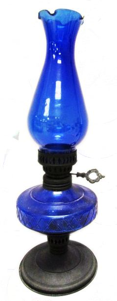 Blue glass oil lamp.
