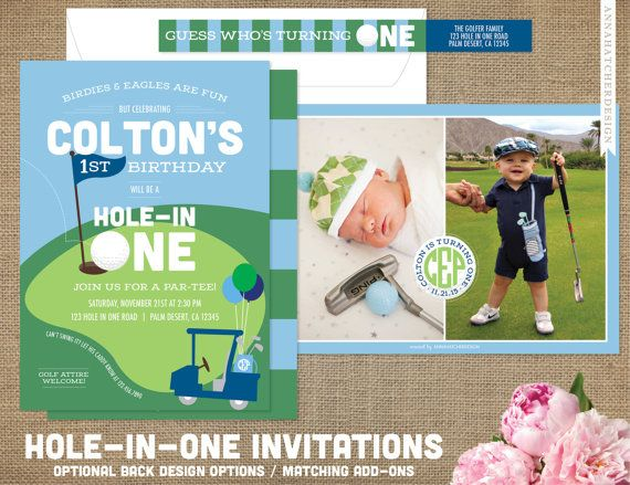 Adorable golf themed invitations for your childs birthday party Hole-In-One! Perfect for a 1st birthday party or any age! 5x7 Invitation design features a golf course design with personalized golf ball, golf flag, golf cart and the option of continued illustration, stripes, monogram golf ball, or photo/pictures for the back design. Shown in blue, green and white; but can be customized to the colors of your choice! Invitation wording is below but we can personalize it to go with your party…