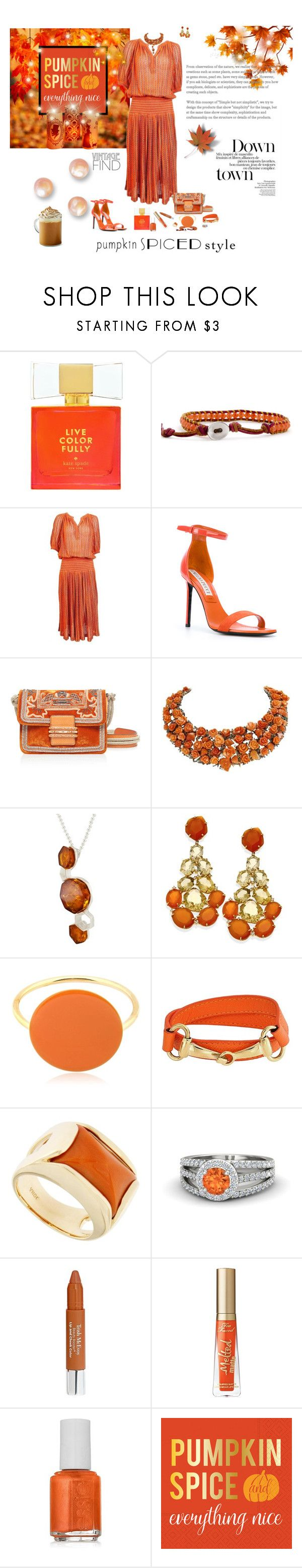 """Monochrome: Pumpkin Spice"" by deborah-518 ❤ liked on Polyvore featuring Kate Spade, Missoni, Emilio Pucci, Etro, Luise, Be-Jewelled, Isabel Marant, Bling Jewelry, Jona and Trish McEvoy"