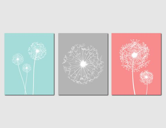 Dandelion Wall Art Prints Baby Girl Nursery Art Coral Aqua Gray Bedroom Art Home Decor Living Room Kitchen, Any Color, Set of 3 Art Prints