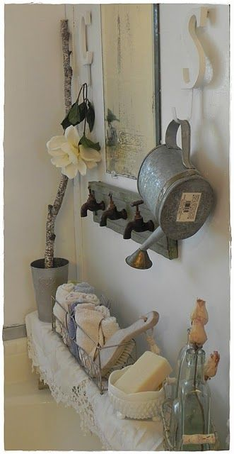 bathroom...I love the board with old outdoor spigots on it!Vintage Bathroom, Hooks, Rustic Bathroom, Faucets, Towels Racks, Water Cans, Bathroom Ideas, Pots Sheds, Bathroom Decor