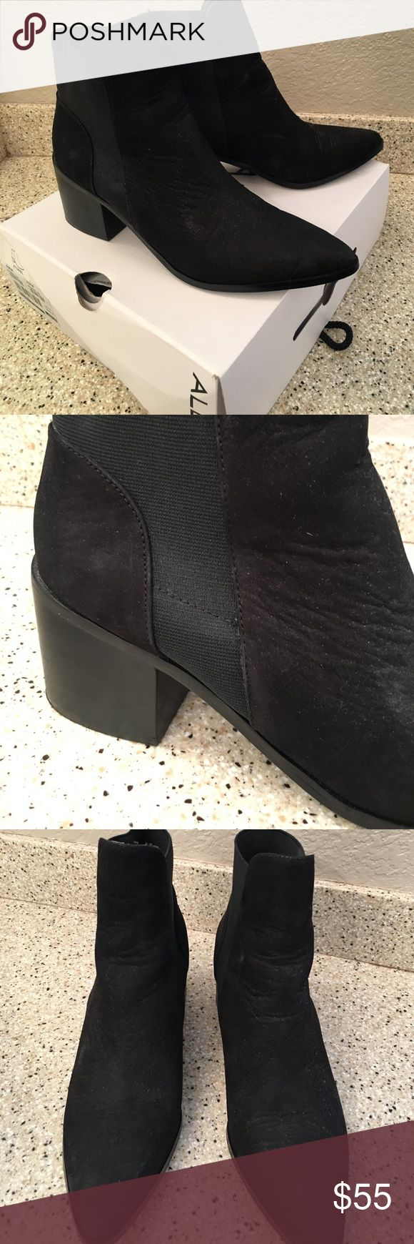 "Black suede Aldo boots. Black suede Aldo boots.   Worn only once in the house!  Brand new condition!  Great ""chunky"" heel. Aldo Shoes Ankle Boots & Booties"