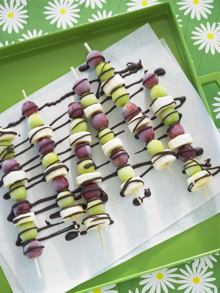 Frozen grape and banana skewers drizzled with chocolate!