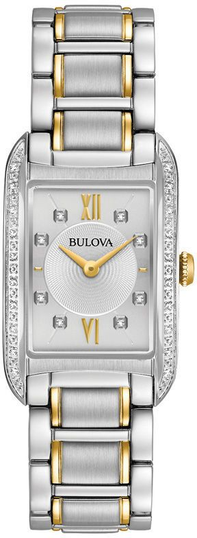 Zales Ladies' Bulova Diamond Accent Two-Tone Watch with Rectangle Silver-Tone Dial (Model: 98R227)
