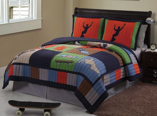 Cool Skate eXtreme Sports Skateboard Quilt & Sham Set