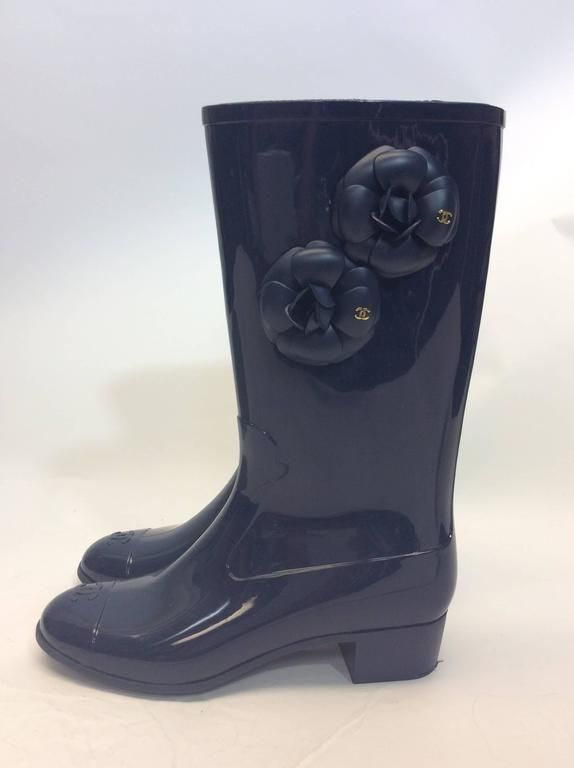 Chanel Navy Rubber Rain Boot