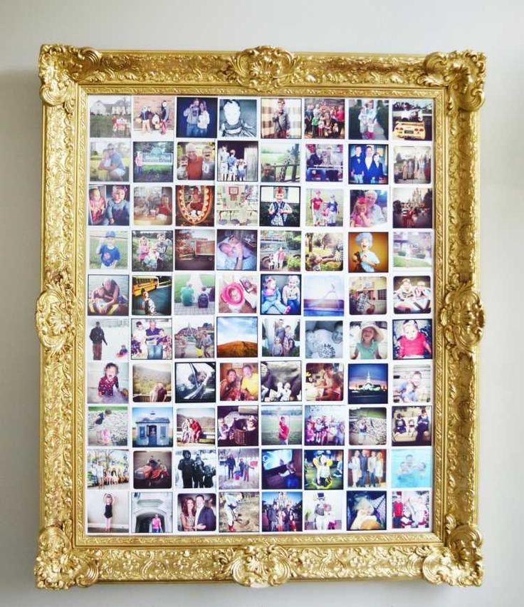 vergoldener Bilderrahmen im Barock Stil mit Bild aus mehreren Polaroid Fotos                                                                                                                                                      Mehr