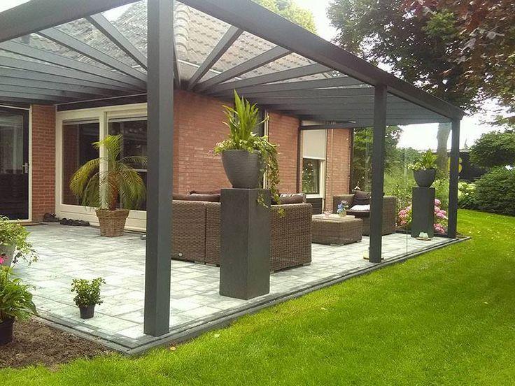 Moderne Terrassenuberdachung Als Eckmodell Iaus Aluminium In Anthrazit Q S Ga Einrichtungsideen Garden Deco Backyard Porch Backyard