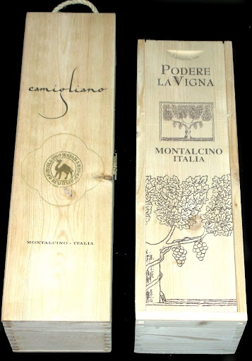 Highly detailed single bottle magnum one crates. The left is from Spain and has a roped handle. The right hand one is from Italy and has a vertical slide-top lid