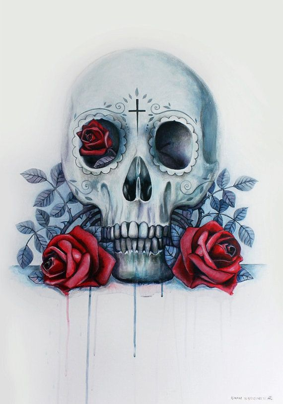The Mexican Skull And The Red Roses  Print of original by RoEnArt