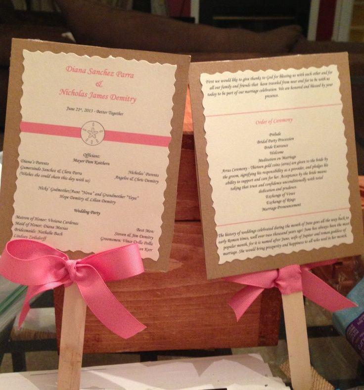 beach ceremony program ideas | DIY coral beach wedding programs