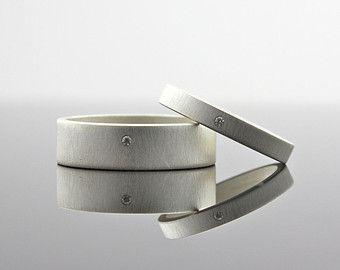 Matte Finish Diamond Ring Set, Sterling Silver, Wedding Band Set, Matching Wedding Rings, Custom Engagement Rings, Men's or Women's, Modern