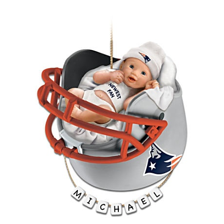 "Personalized ""Patriots Fan"" Baby's First Christmas Ornament #NFL"