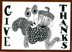 Scrat zentangle art card. Zana's Cards measure 7.2″ x 5.2″, or 18cm x 13cm.They also include an envelope for you to use to send your cards. #scratzentangle #thankfulzentangle #iceage #iceagedrawing #iceagezentangle #squirrelzentangle #zentanglecard #zentangleart #zanascards www.zanascards.com