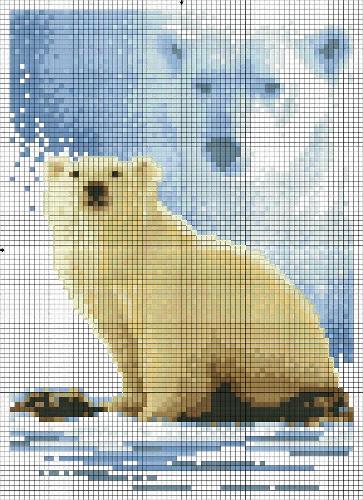 Cross stitch *<3* Point de croix Ours polaire