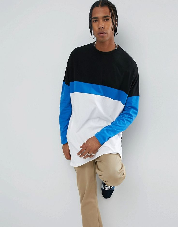ASOS Extreme Oversized Super Longline Long Sleeve T-Shirt With Color B