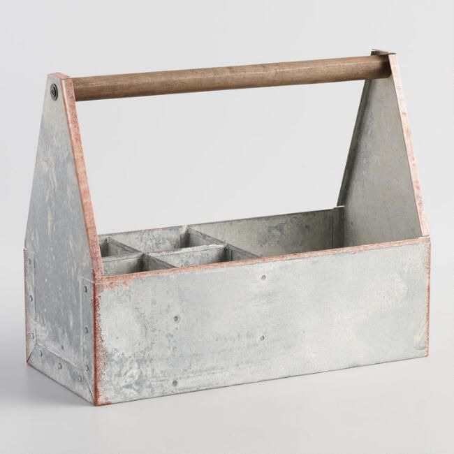 Distressed Galvanized Steel Garden Tool Caddy With Images