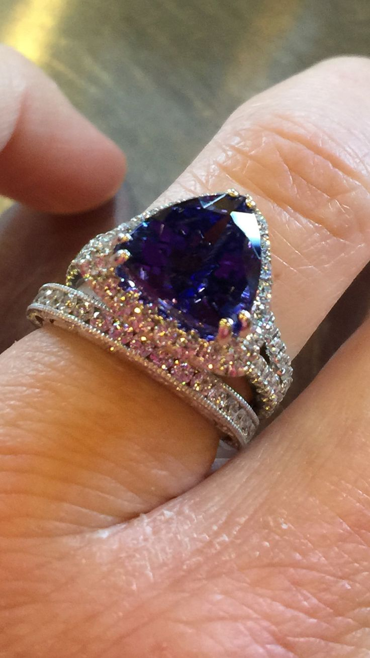 ring tanzanite white engagement diamond blue rings prongs il matching fullxfull round bands band gold aaa cut natural