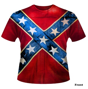 Rebel Flag T Shirt, $22.95 (http://www.southernsistersdesigns.com/all-over-print-mens-rebel-flag-t-shirt/)