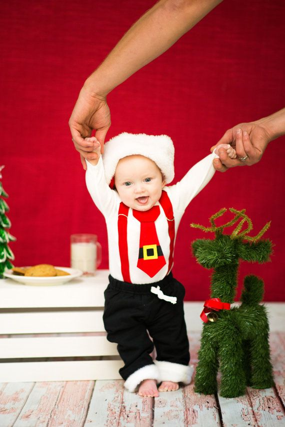 Baby Boy Santa Bodysuit with suspenders with by shopantsypants