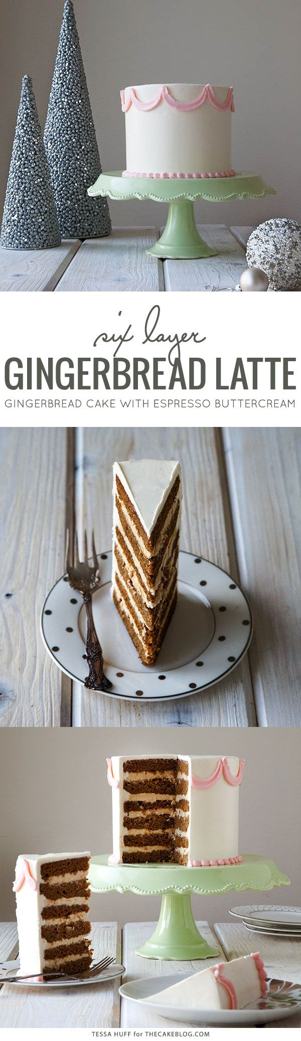 Six layers of gingerbread cake filled with espresso buttercream and toffee bits | Gingerbread Latte Cake  |  by Tessa Huff for TheCakeBlog.com