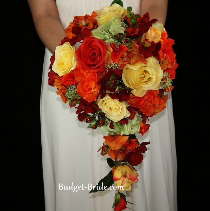 cascading fall wedding bouquet with orange yellow red and green roses hydrangea and berries. Black Bedroom Furniture Sets. Home Design Ideas