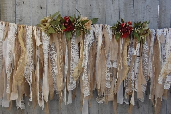 Christmas garland, hand tied with tattered ivory and white lace, burlap, ivory brocade, soft olive linen, white crepe, silver and gold ribbon, ivory seed pearls