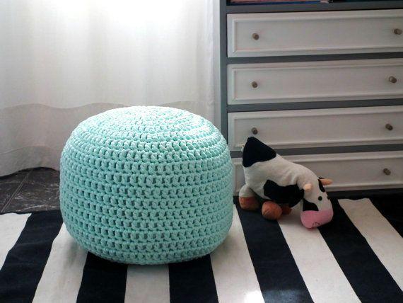 Light Aqua Blue Nursery Ottoman Footstool Pouf-Light Blue Aqua Babyroom Decor-Kids Furniture Bean Bag Chair-Crochet Round Pouf-Knit Cushions