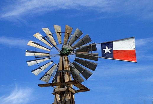 Mesquite, Texas windmill bearing the state flag of Texas
