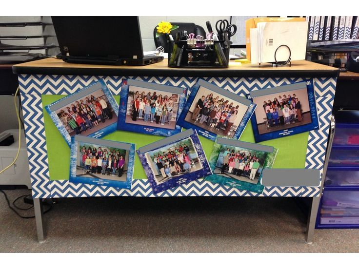 Teacher Desk Decoration: this is a cute way to display your past classes! Students love looking at the pictures, and they add color to a drab teacher desk!