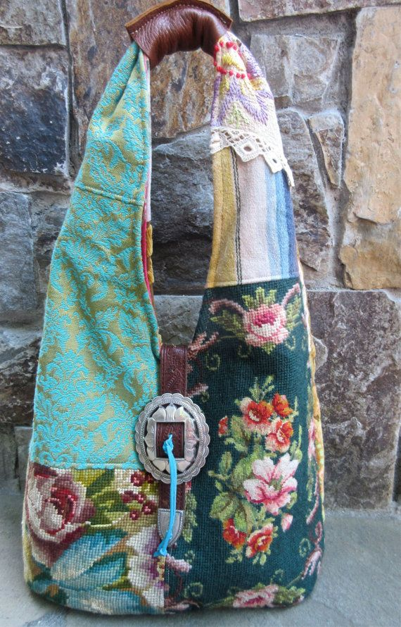 Vintage Flower Needlepoint Velvet Chenille by LadidaHandbags